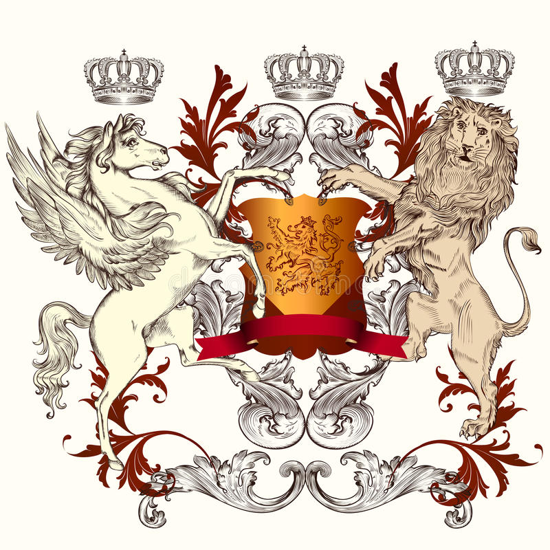 与盾、飞过的马和狮子的纹章学设计 皇族释放例证