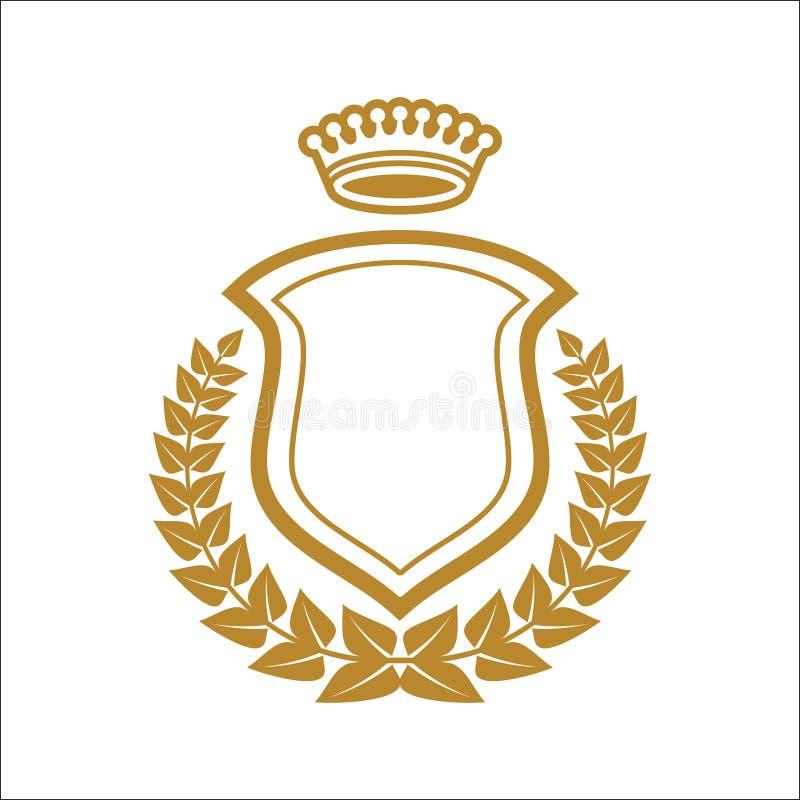 与盾的徽章商标象征半花圈 向量例证