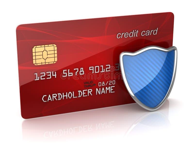 与盾的红色信用卡 皇族释放例证