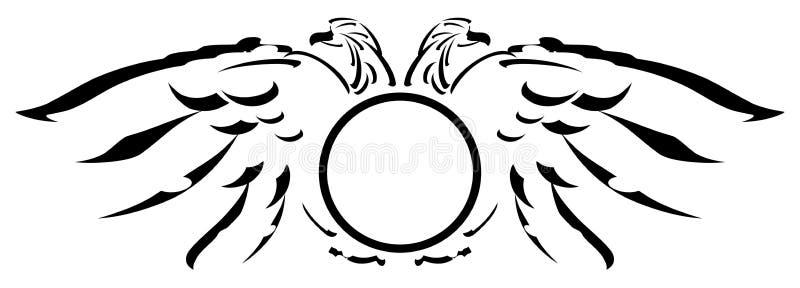 与盾的风格化两头老鹰 库存例证