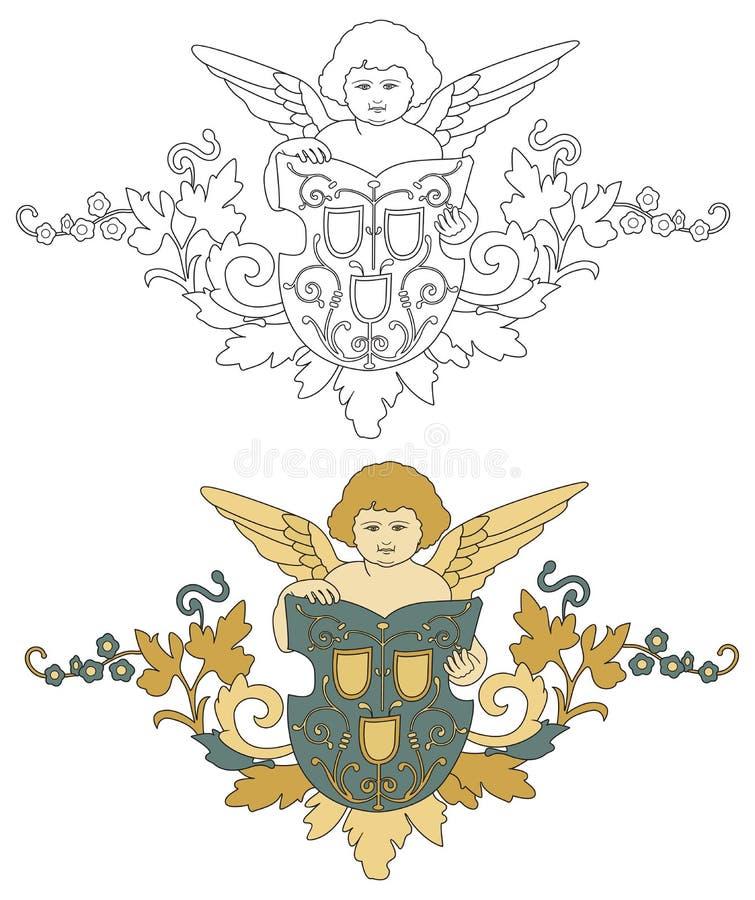 与盾老装饰的天使 库存例证