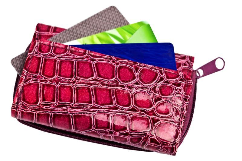 与看板卡的紫色钱包 库存图片