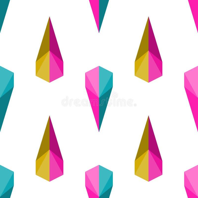与看金刚石或水晶的五颜六色的宝石的无缝的样式传染媒介背景由三角几何设计葡萄酒制成减速火箭 向量例证