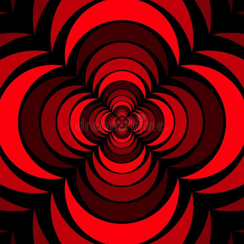 与看3D的玫瑰色花的几何花卉样式传染媒介背景设计艺术喜欢形状红色黑色 库存例证