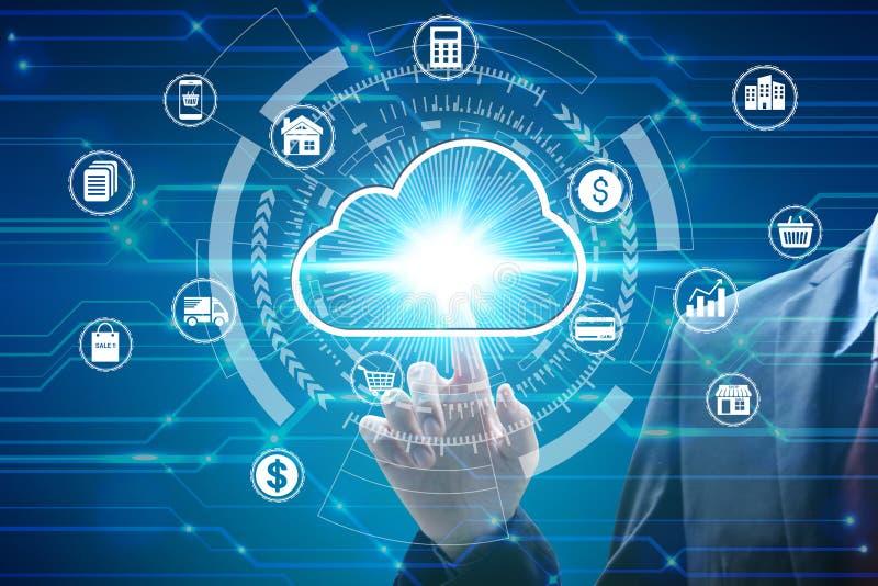 与真正云彩计算的象在网络连接,网络安全数据保护企业技术的手指接触 免版税库存照片