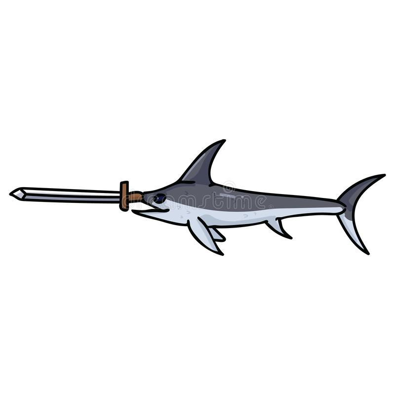 与真正的剑动画片传染媒介例证主题集合的逗人喜爱的箭鱼 手拉的被隔绝的海洋生活元素clipart为 皇族释放例证
