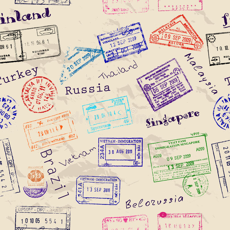 与真正的签证图章的无缝的纹理。 库存例证