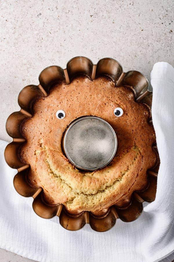 与眼睛和微笑的破裂的蛋糕 库存照片
