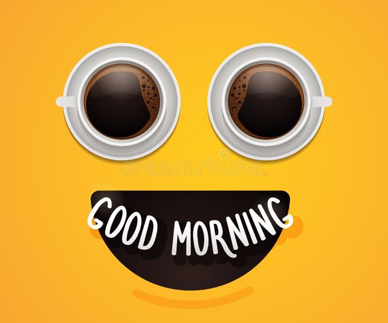 与眼睛的兴高采烈的意思号面孔由咖啡或热巧克力杯子制成 能量愉快的早餐背景海报设计 古色古香的企业咖啡合同杯子塑造了新鲜的早晨好老笔场面打字机 向量例证