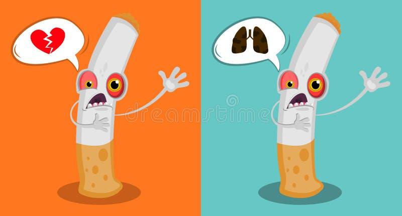 与眼睛的动画片滑稽的香烟和要求的嘴帮助 死的字符 与尼古丁上瘾的动画片战斗 r 向量例证