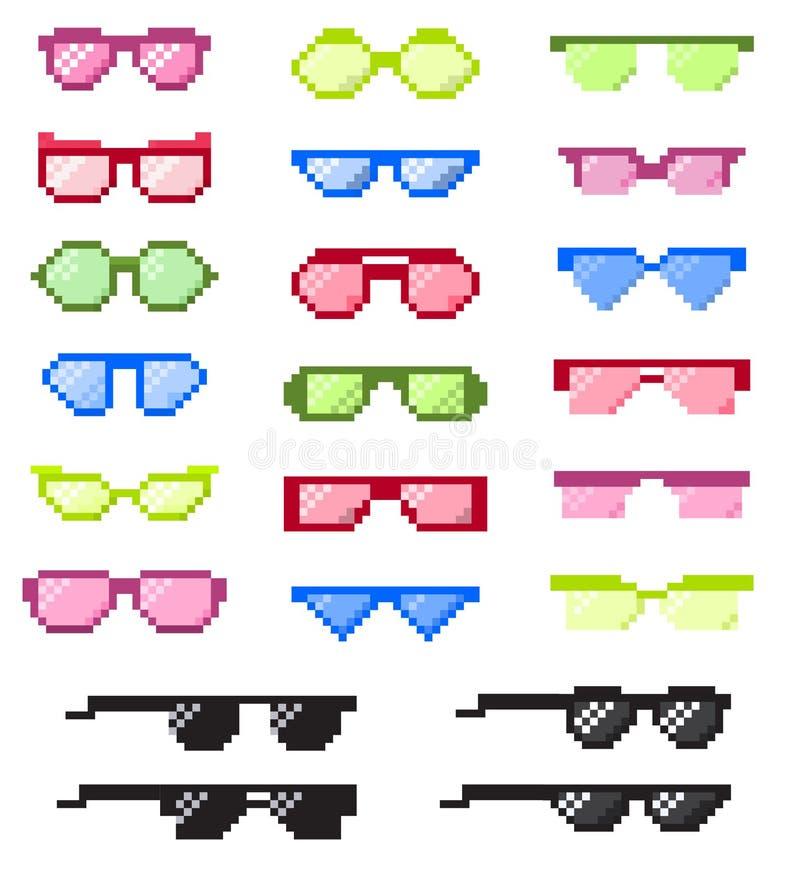 与眼睛的玻璃映象点导航动画片镜片框架或太阳镜和辅助部件塑造光学结构眼镜 向量例证