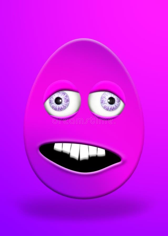 与眼睛的看起来复活节彩蛋和的嘴愚笨和害怕的3D Illu 向量例证