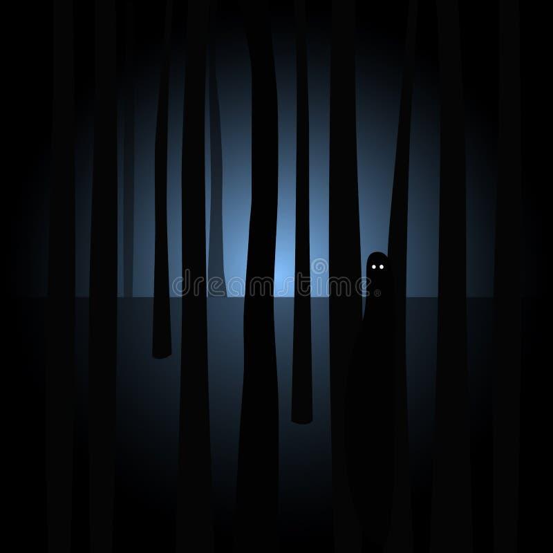 与眼睛的蠕动的剪影在鬼的黑暗的森林里 库存例证