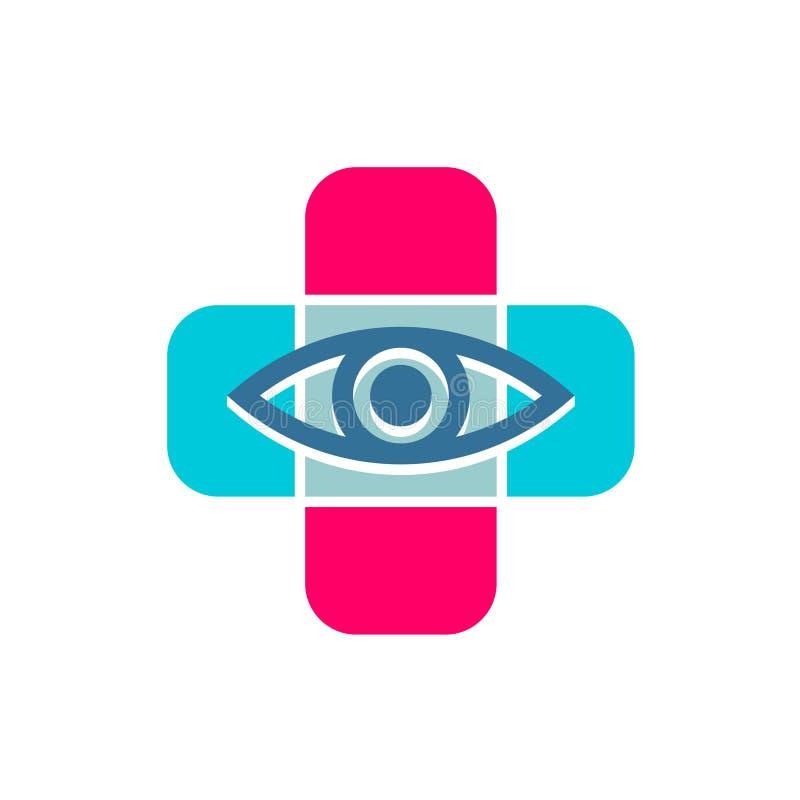 与眼睛线象的医疗十字架 眼镜师标志 向量例证