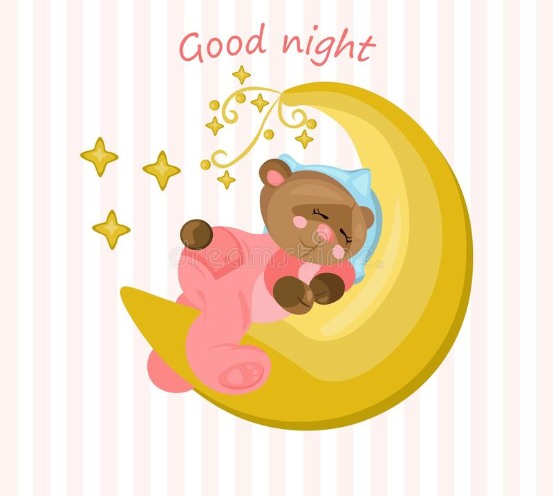 与睡觉在月亮传染媒介的玩具熊的晚上好卡片 库存例证