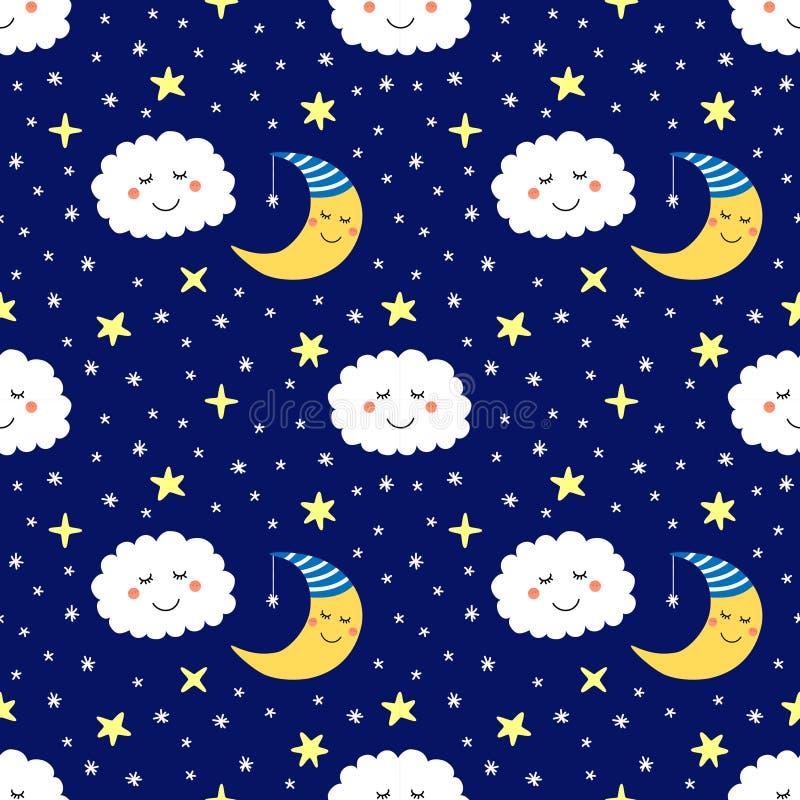 与睡觉月亮、星和云彩滑稽的漫画人物的逗人喜爱的无缝的样式  向量例证