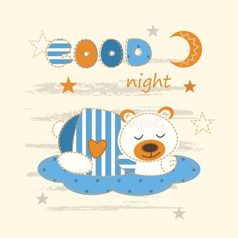与睡觉熊的逗人喜爱的婴孩背景 库存例证