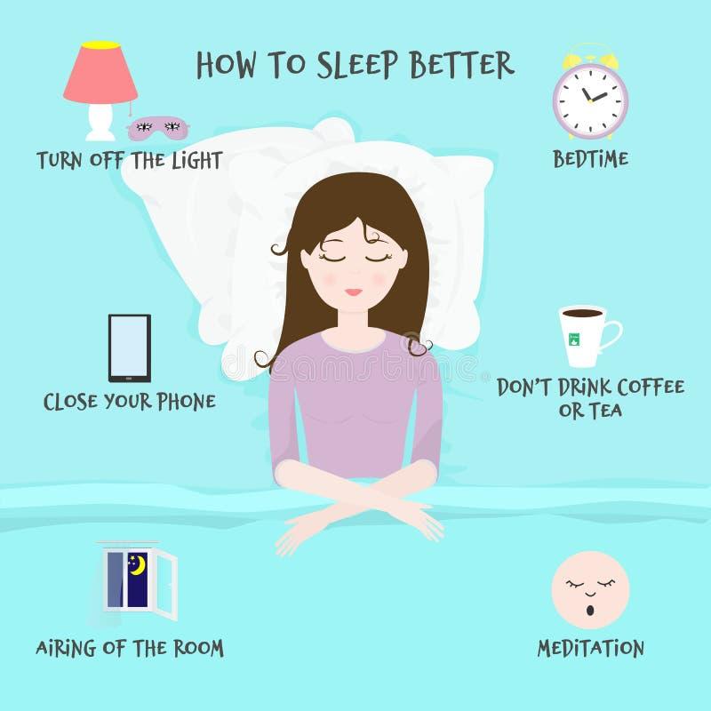 与睡觉的女孩的传染媒介例证在枕头和题字的床上'如何更好睡觉' 皇族释放例证