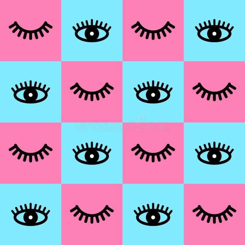 与睫毛的无缝的样式 张开与鞭子的眼睛 逗人喜爱的睫毛 与鞭子的背景 也corel凹道例证向量 向量例证