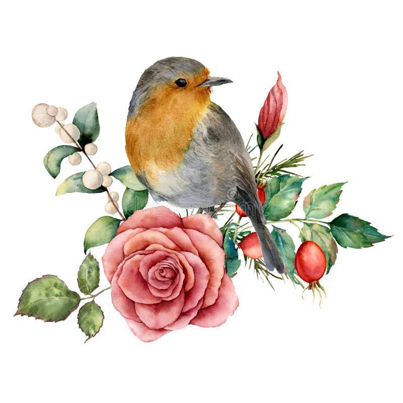 与知更鸟的水彩花束和上升了 与桃红色花, dogrose,雪果,叶子的手画花卉例证 向量例证