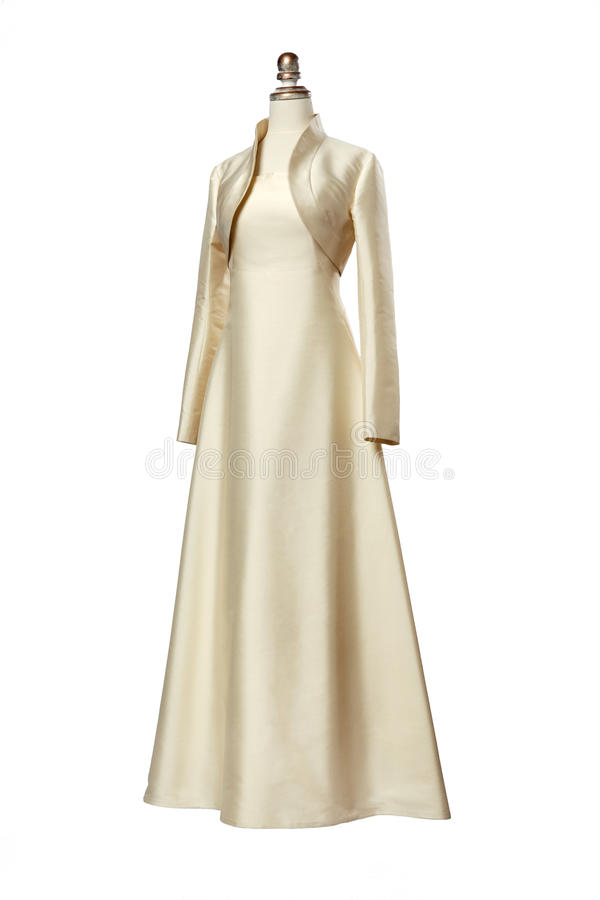 与短上衣的明亮的晚礼服在时装模特 库存照片