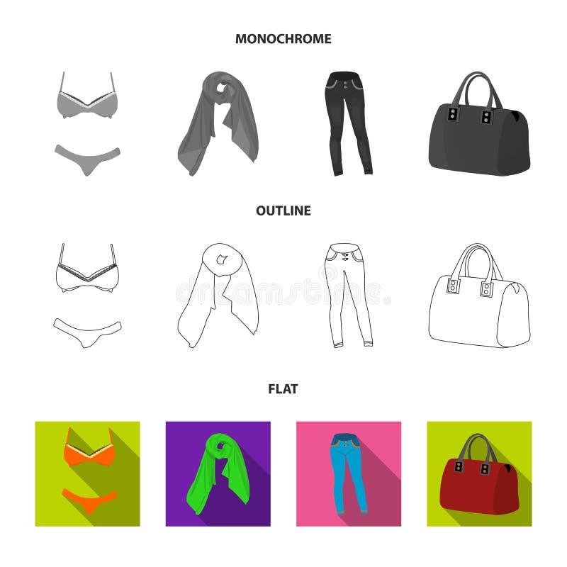 与短裤的胸罩,妇女围巾,绑腿,与把柄的一个袋子 在舱内甲板,概述的妇女衣物集合汇集象 向量例证