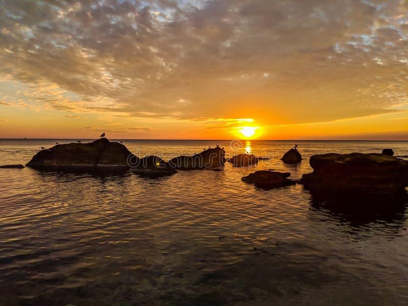 与石头和好的天空的海景在日落期间 免版税图库摄影