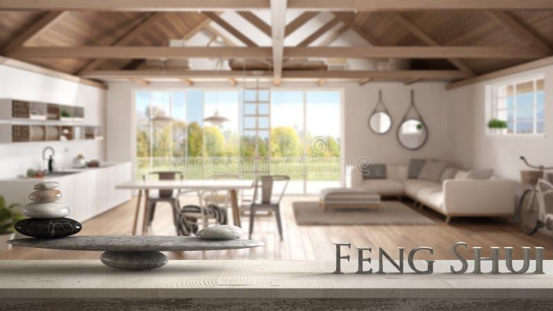 与石平衡的木葡萄酒桌做在中楼顶楼,厨房,生活的架子和3d信件词风水和是 库存照片