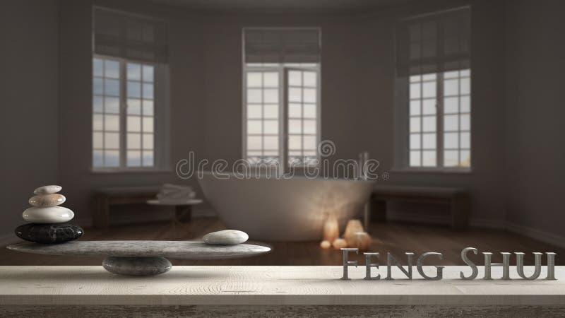 与石平衡的木葡萄酒桌做在旅馆温泉卫生间的架子和3d信件词风水有浴缸的,夜 图库摄影