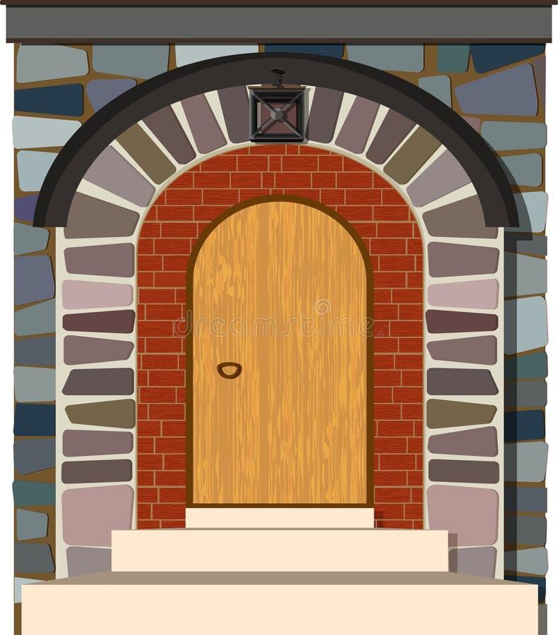 与石曲拱的老木葡萄酒门 皇族释放例证