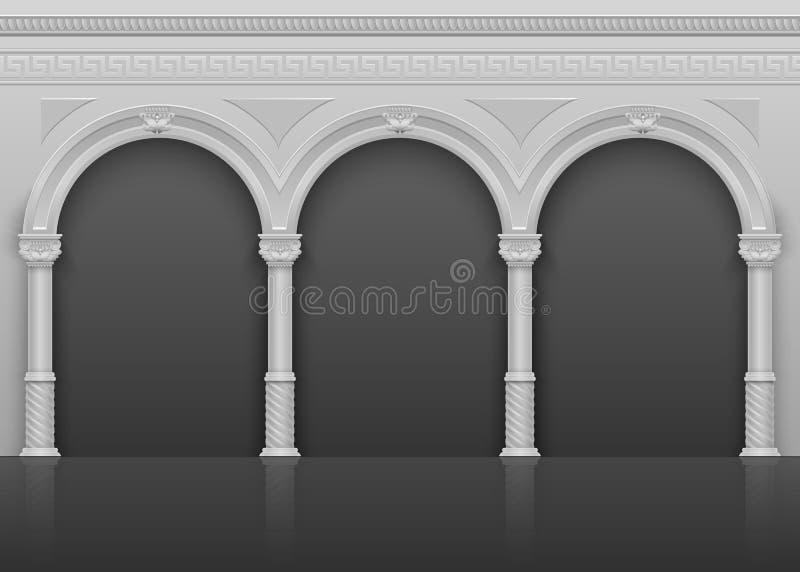 与石曲拱的经典罗马古色古香的内部和专栏导航例证 库存例证
