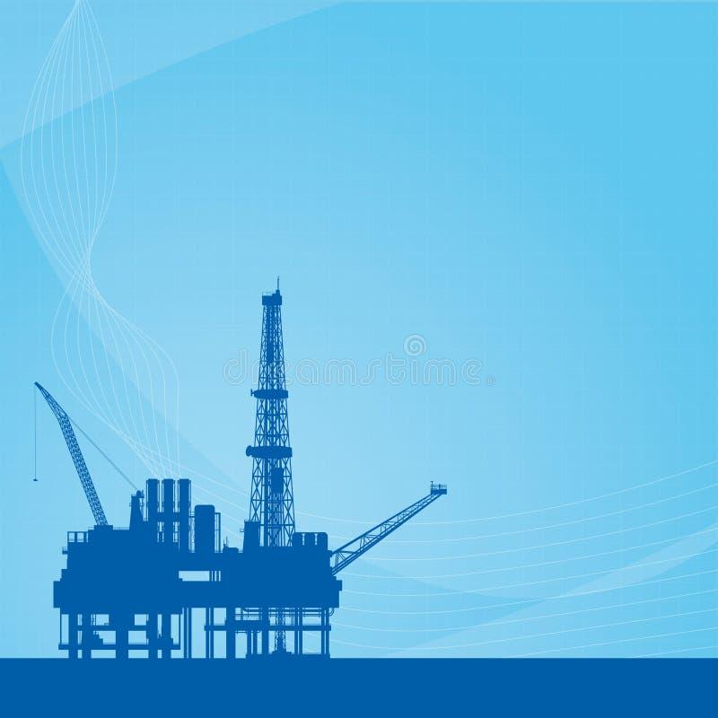 与石油平台的传染媒介背景 皇族释放例证