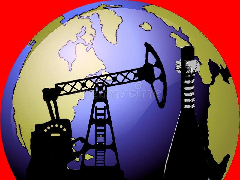 与石油钻井图片的地球 向量例证