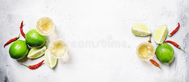 与石灰和盐,白色饮料背景的金子墨西哥龙舌兰酒, 图库摄影