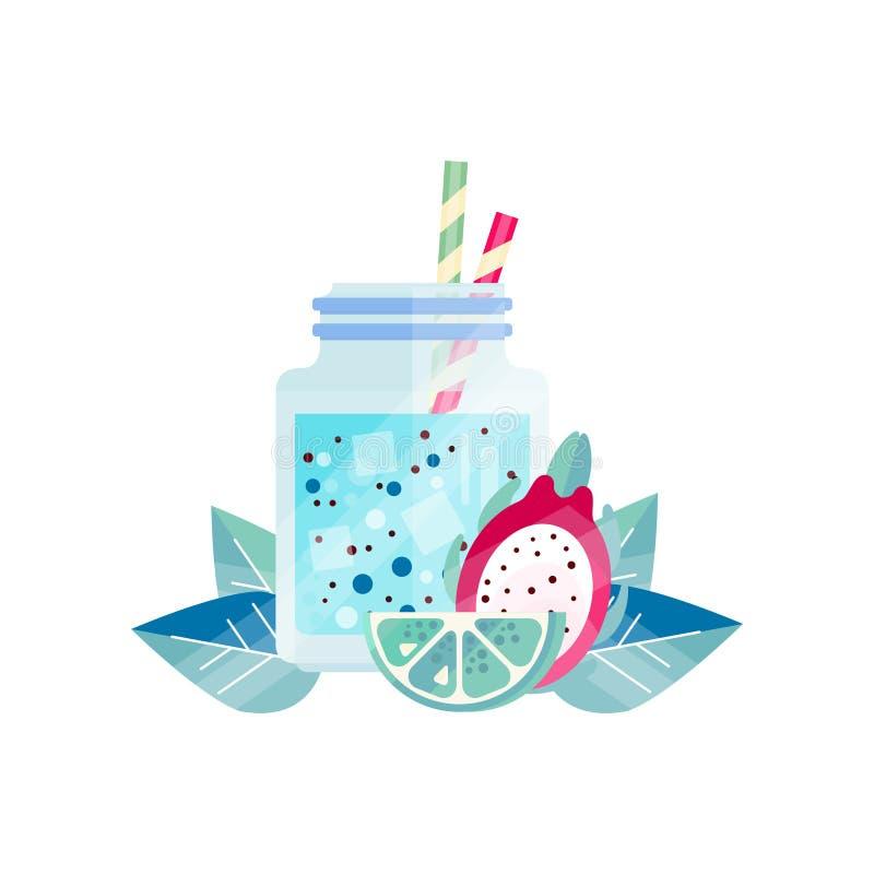 与石灰和pitaya的可口圆滑的人 与冰块和吸管的刷新的夏天汁液 素食鸡尾酒 库存例证
