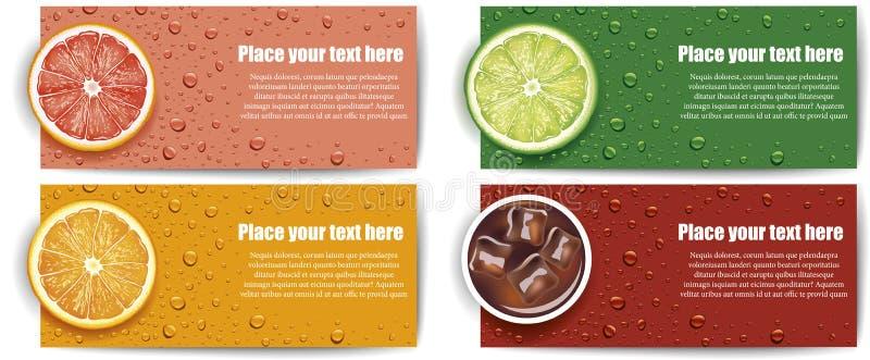 与石灰,葡萄柚,橙色切片的汁液背景 向量例证