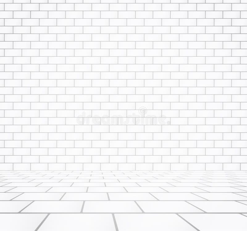 与石瓦片走道的白色砖墙纹理 向量例证