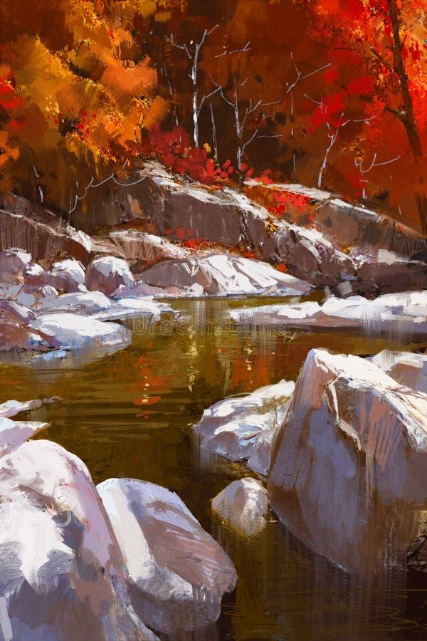 与石头的河道线路在秋天森林里 皇族释放例证