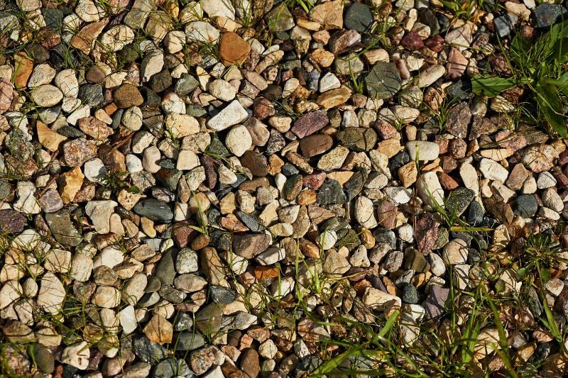 与石头,岩石,小卵石石头,背景的草 图库摄影