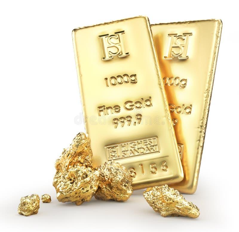 与矿块隔离的金制马上的齿龈 库存例证