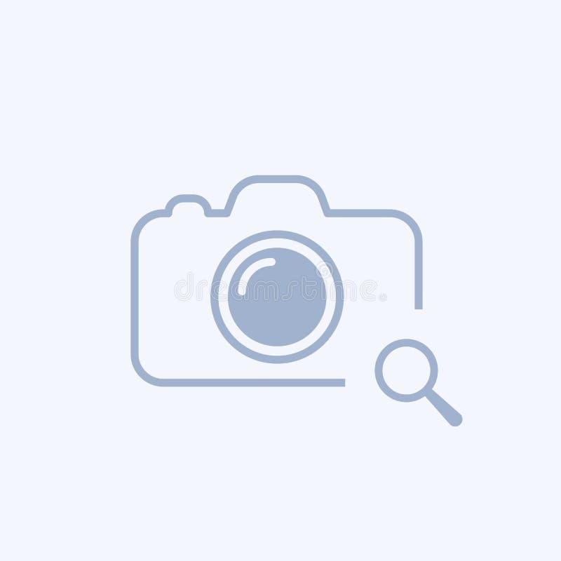 与研究标志的照相机象 照相机象和探索,发现,检查概念 向量例证