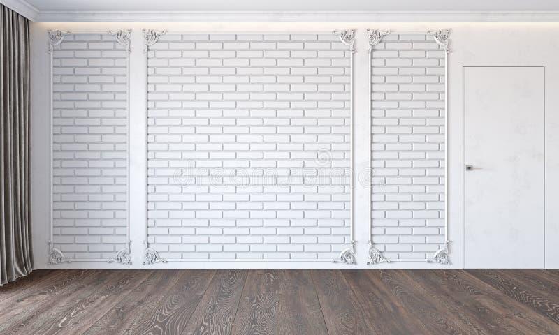 与砖墙、门、木地板、天花板由后照的,造型和帷幕的现代经典白色内部 向量例证