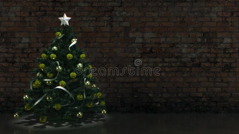 与砖墙的圣诞树 皇族释放例证