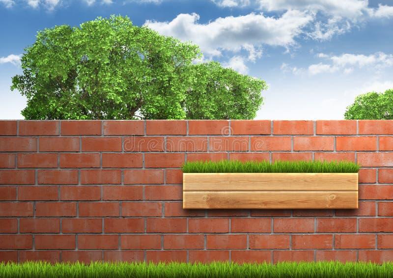 与砖墙的增长的树在绿色新鲜的草 免版税库存照片
