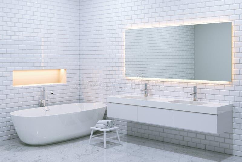 与砖墙的白色豪华卫生间内部 3d回报 免版税库存照片