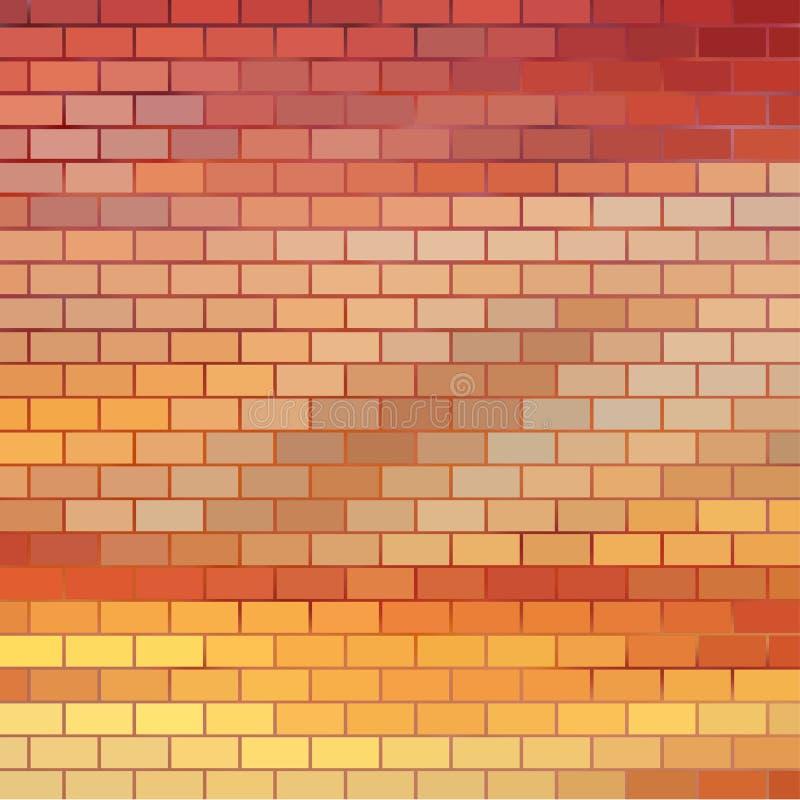 与砖栅格的日落主题的背景 库存例证