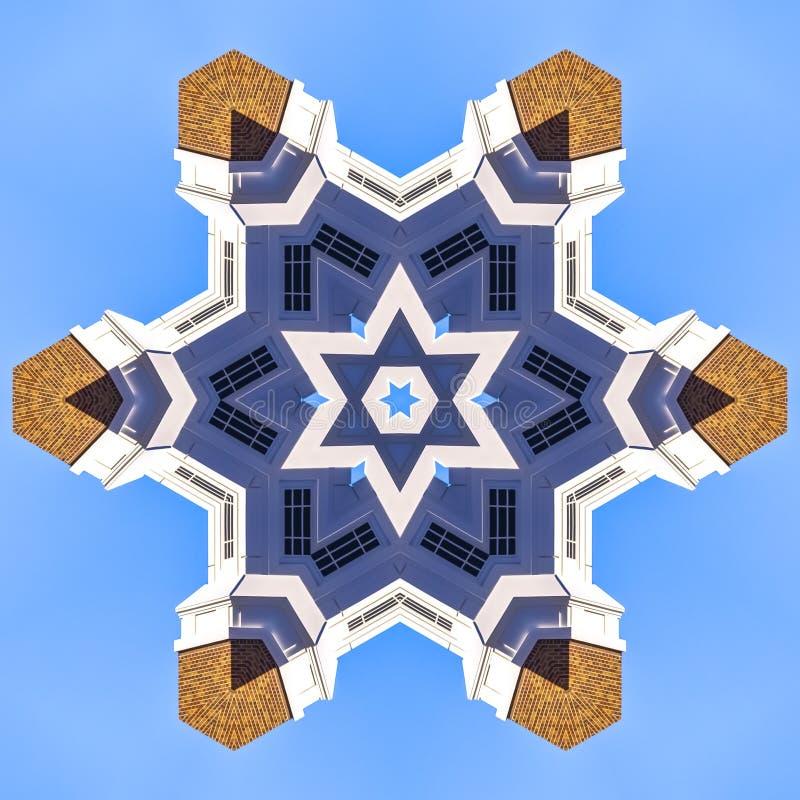 与砖的教会尖顶被形成入星 向量例证