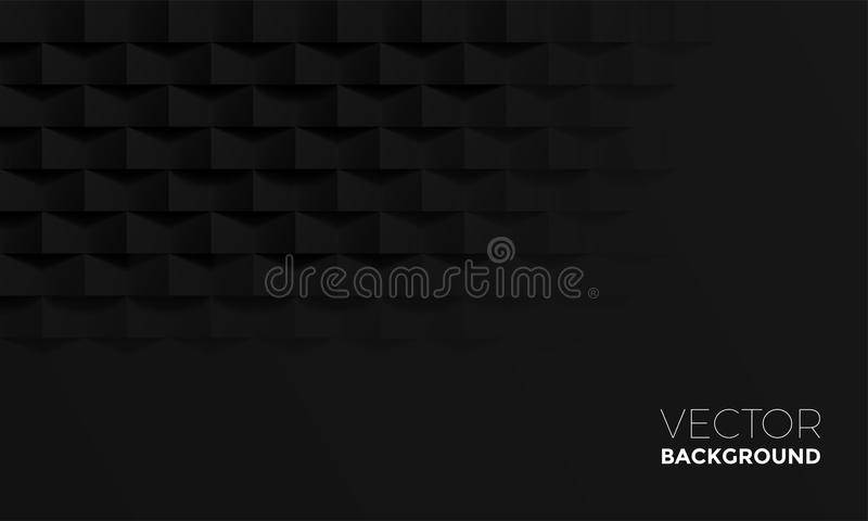 与砖阴影纹理的抽象黑背景 传染媒介几何室内设计背景 向量例证