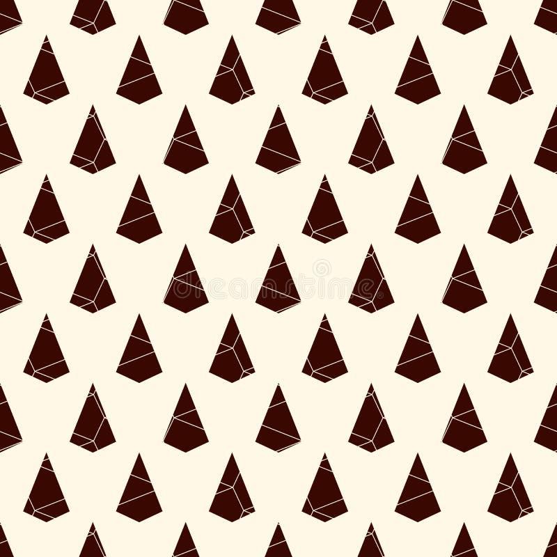 与破裂的石头的无缝的表面样式 重复的微型三角抽象墙纸 被破坏的风筝塑造主题 向量例证