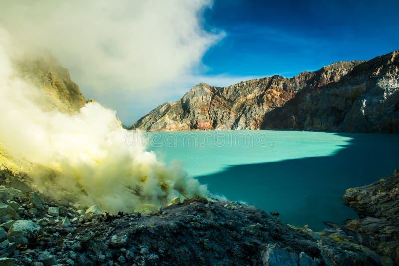 与硫磺矿和蓝色湖,印度尼西亚的抽烟的Kawah伊真火山火山火山口 免版税库存照片